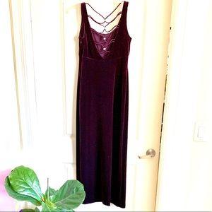 Plum, velvet, floor length evening dress